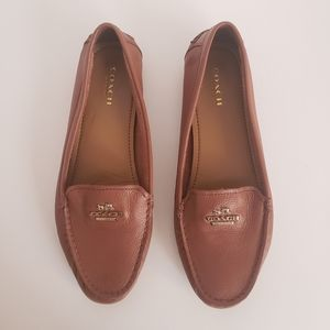 Coach opal brown leather flat loafers size 7.5